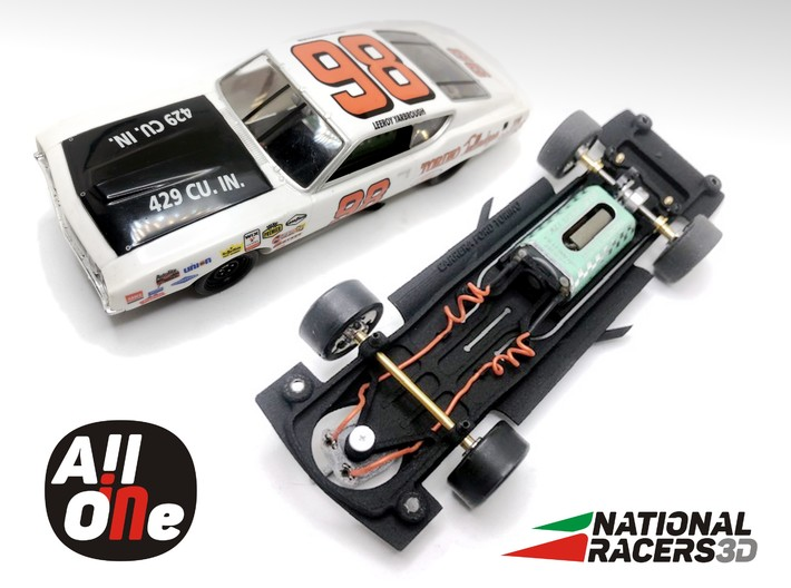 Chassis - Carrera Ford Torino (In-AiO) 3d printed Chassis compatible with Carrera model (slot car and other parts not included)
