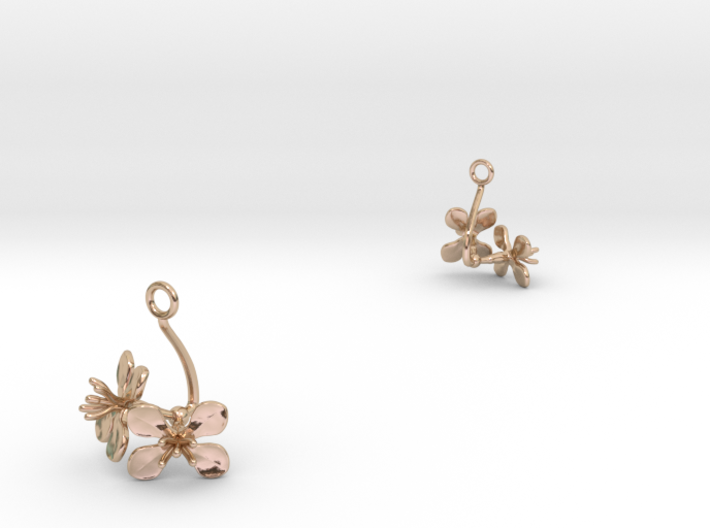 Radish earring with two small flowers 3d printed