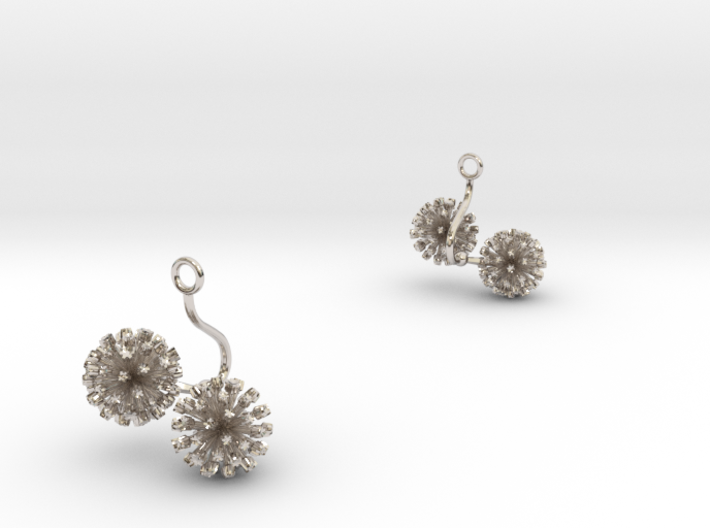 Garlic earring with two small flowers 3d printed