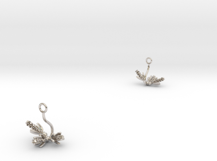 Hyacint earring with three small flowers 3d printed