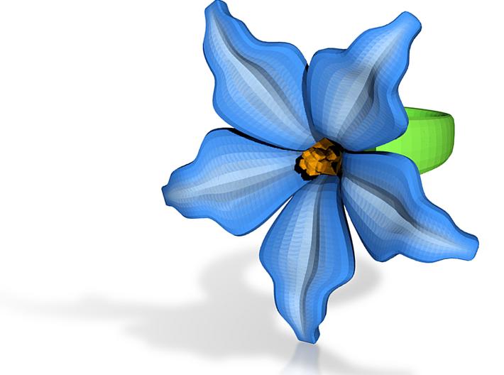 Exotic Bloom Ring 3d printed