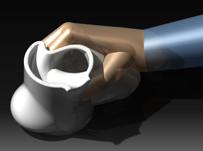 Ergonomic coffee cup by Georges-Paul  3d printed view with rendered (unpretty) hand