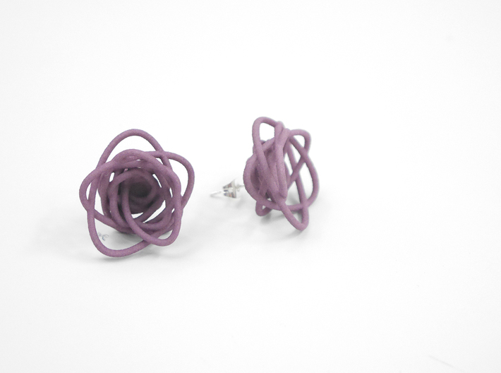 Sprouted Spirals Earrings (Studs) 3d printed Custom Dyed Color (Wisteria)