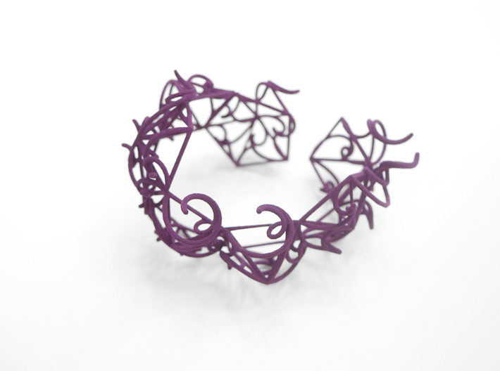 Aster Cuff 3d printed Custom Dyed Colors (Eggplant)
