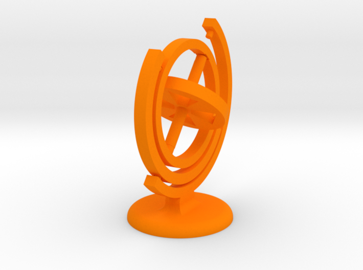 Gyroscope with stand (coloured plastic) 3d printed
