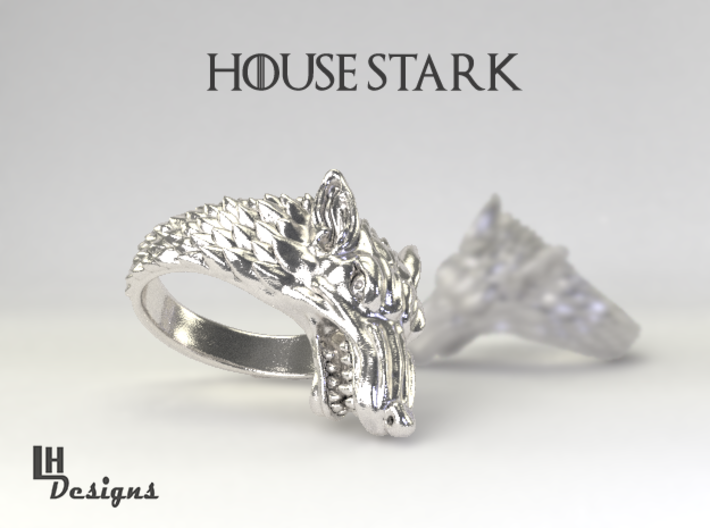 Size 13 Direwolf Ring 3d printed