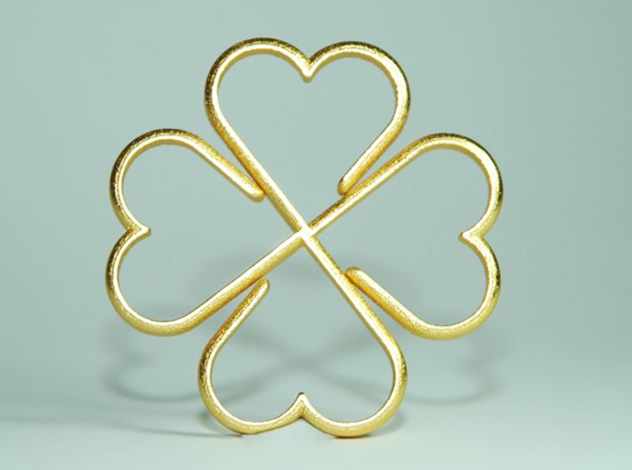 Clover Heart Necklace Pendant 3d printed
