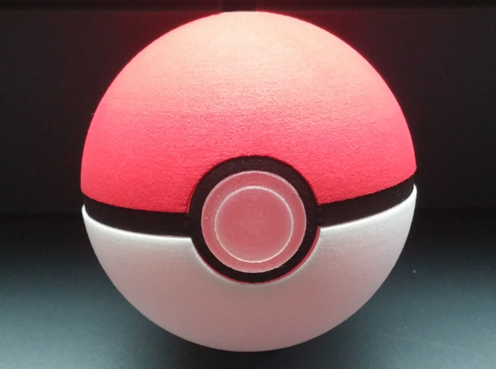 Pokeball Ring 3d printed The completed pokeball