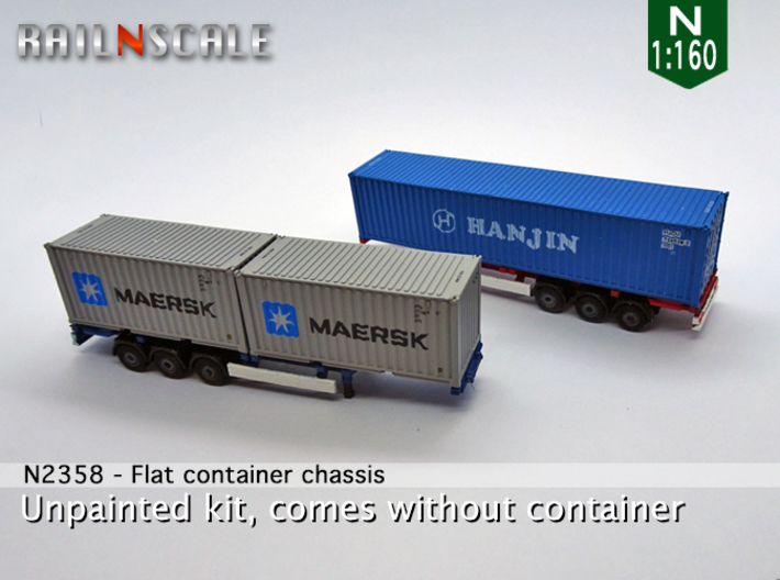 Flat container chassis (N 1:160) 3d printed