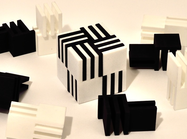 Cube Puzzle, 4 black pieces only 3d printed Four black pieces of puzzle shown