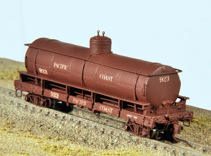 Nn3 Pacific Coast Railway tank car #923 3d printed Completed kit; trucks, couplers, brass wire, handrail stanchions, brake wheel and decals NOT INCLUDED.
