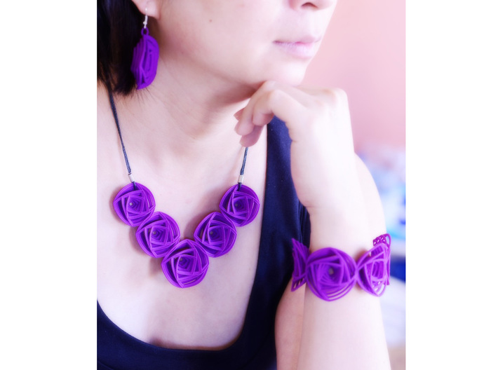 Rose Stripes Bracelet 3d printed Rose Stripes Jewelry Set in Purple