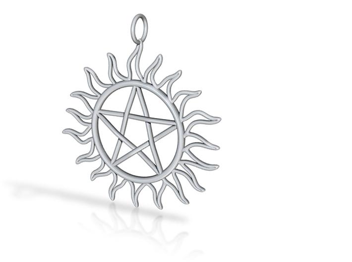 Pentagram Pendant 3d printed Silver render