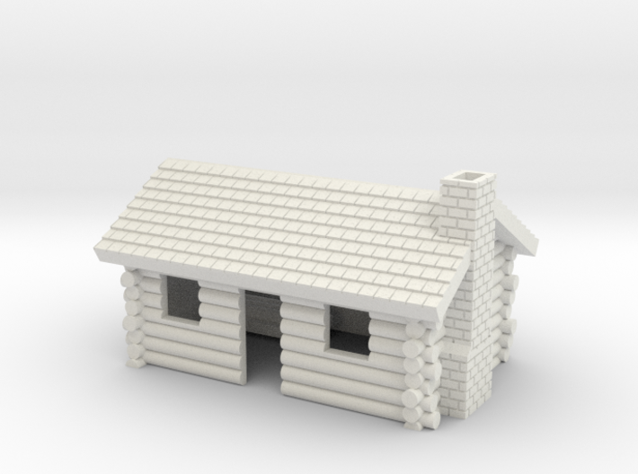 Log Cabin with chimney- Z scale 3d printed