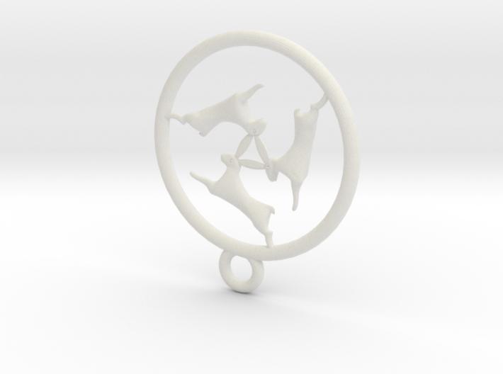 three bunnies symbol pendant 3d printed