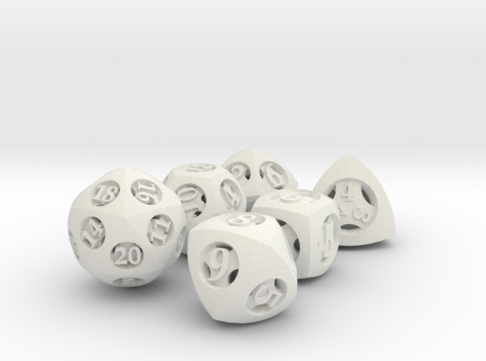 Overstuffed Dice Set 3d printed In stainless steel and inked.