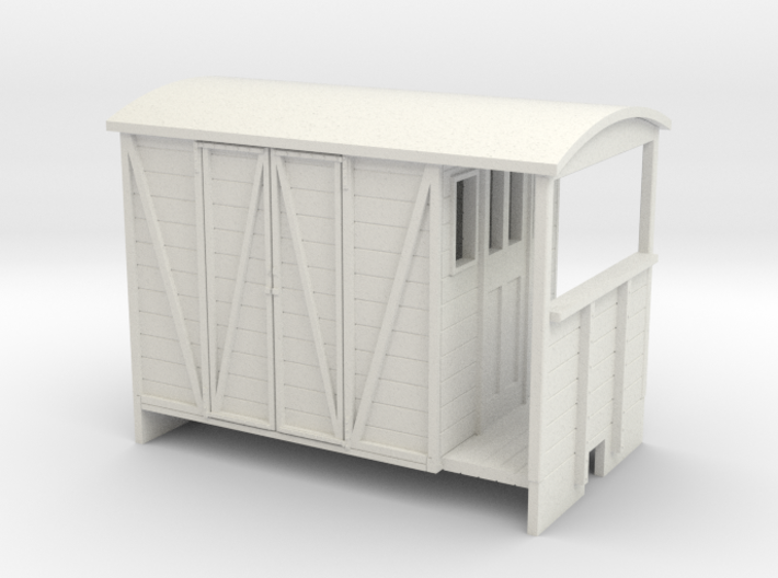 OO9 Brake van with paneled door 3d printed