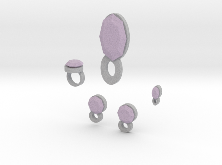 Lara Lavender Dreams Jewelry Set 3d printed