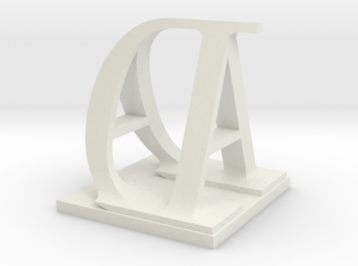 Two way letter / initial A&D 3d printed