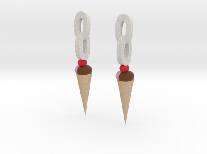 Ice Cream earrings 3d printed