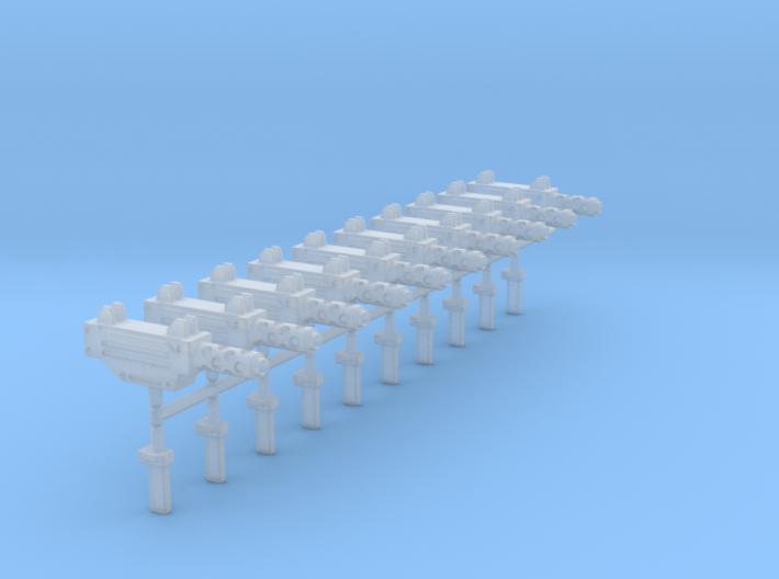 10 Miniature Uzis with flash suppressor 3d printed