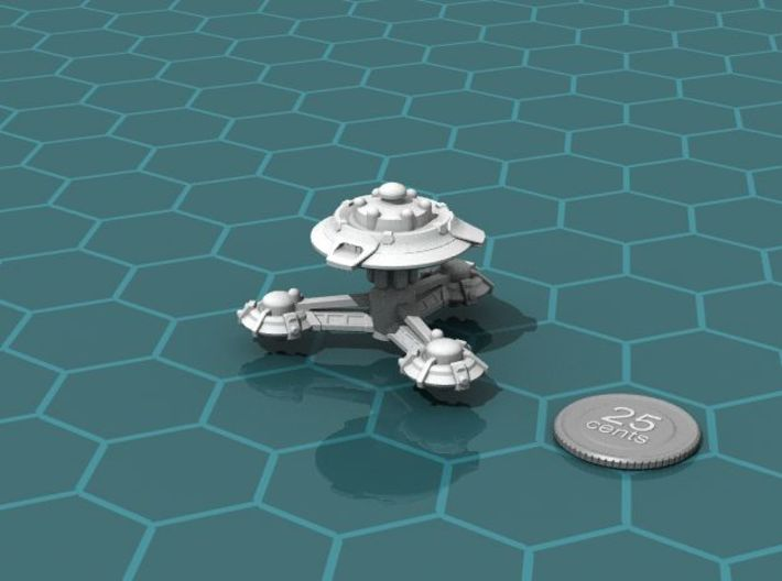 Research Station 3d printed Render of the model, with a virtual quarter for scale.