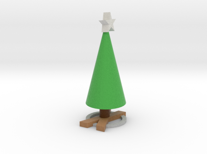 Realistic wood X Based Xmas Tree and star 3d printed
