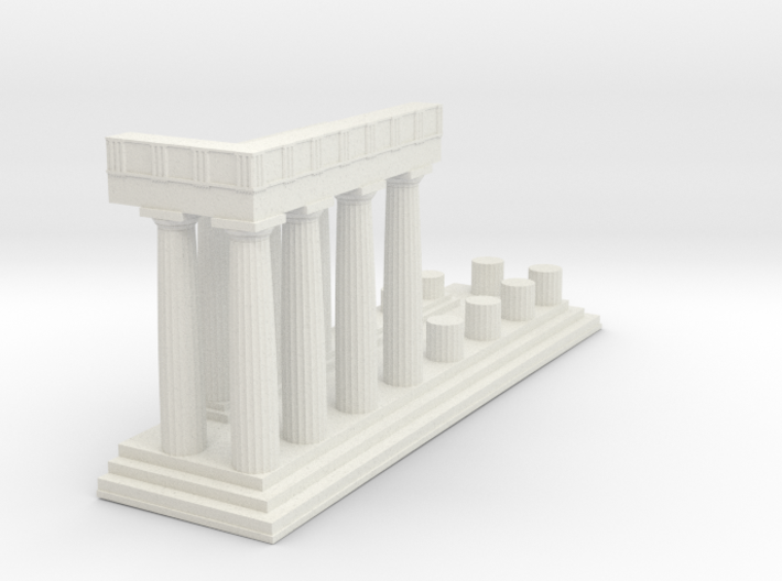 1:150 Parthenon East Facade Sectioned cut 3d printed