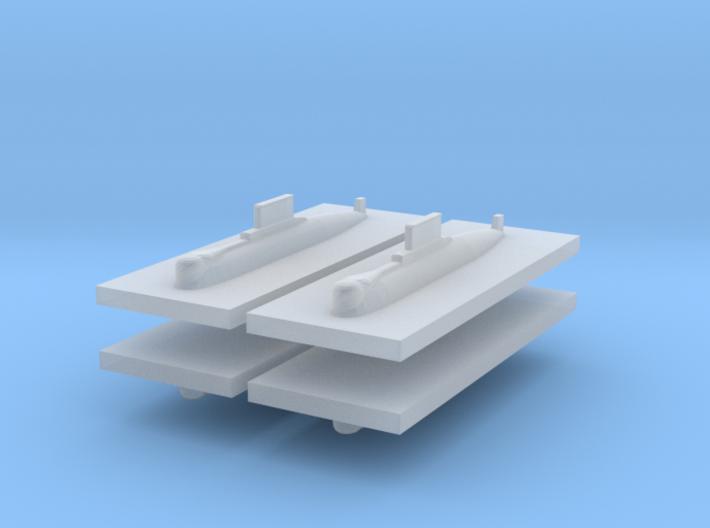 HDW 209/1200 Submarine 1:2400 x4 3d printed