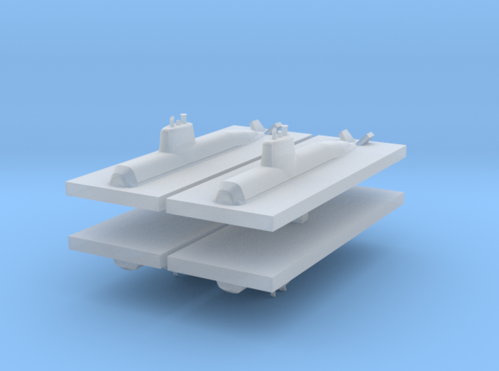 HDW 212 Submarine 1:3000 x4 3d printed