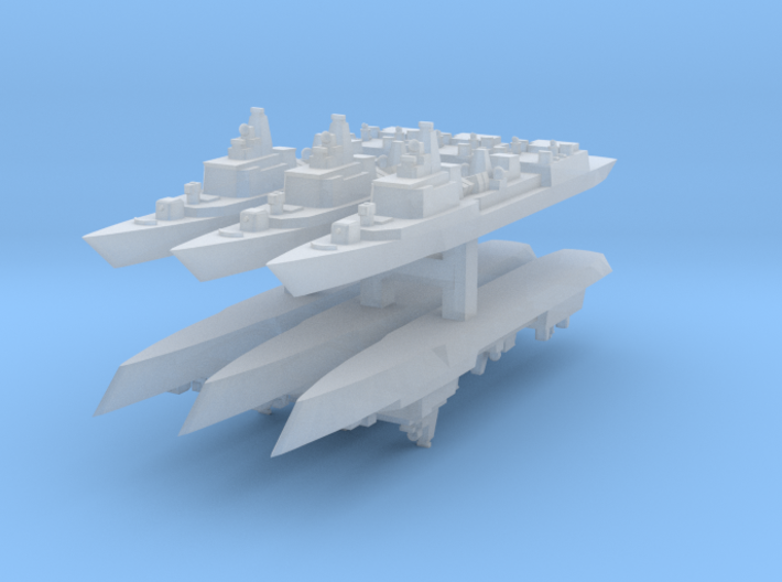 051B PLAN Destroyer 1:6000 x6 3d printed