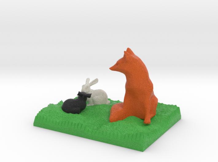 Fox Watching Two Bunnies 3d printed