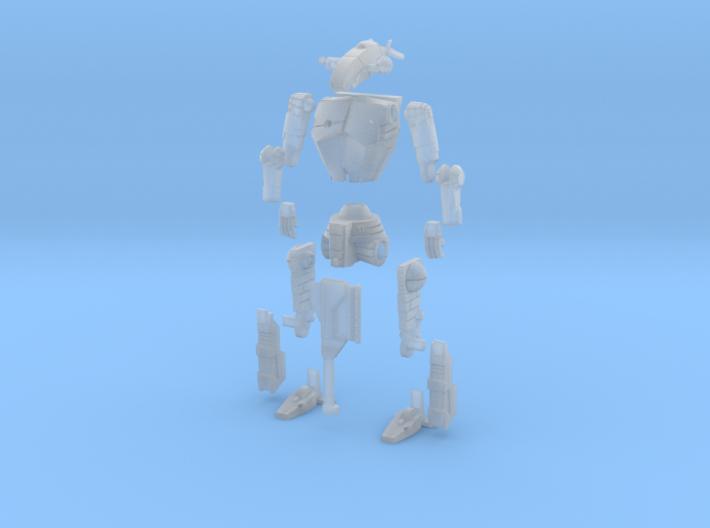 3 inch BattleMech Hatchetman in Parts 3d printed