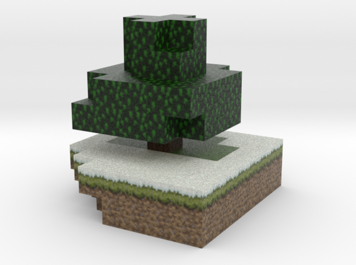 Minecraft tree, winter 3d printed