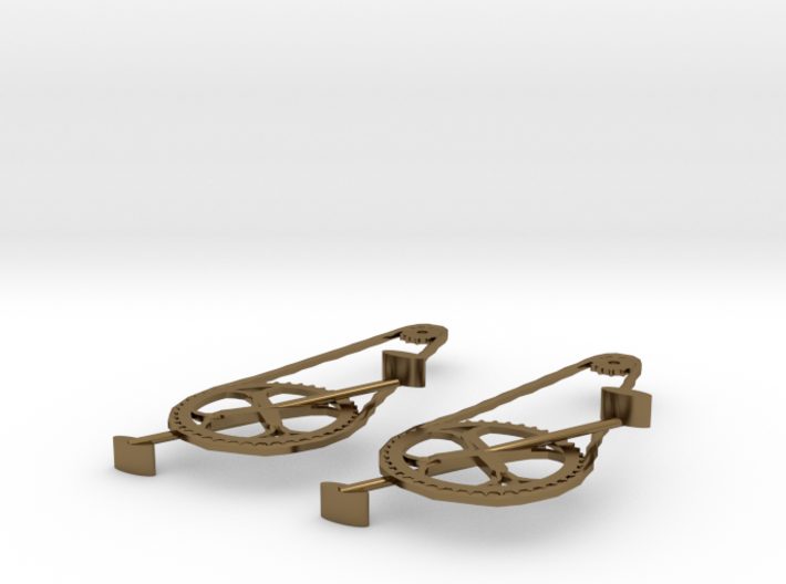 Ride to Conquer Cancer Cycle Chain Earrings 3d printed