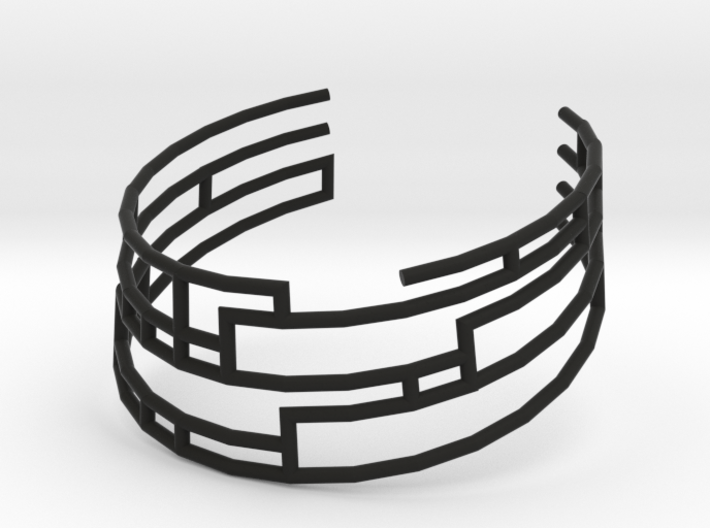 Collar Necklace S01-cylinders steel&plastic 3d printed