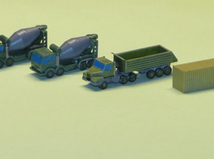Construction Site Trucks 1 1/285 6mm 3d printed Different Container included