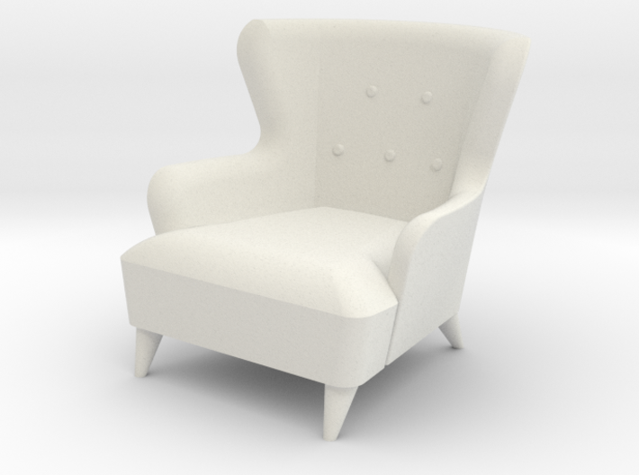 1:24 Wingback Barrel Chair 3d printed