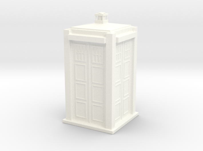 Police box 3d printed printed in blue polished material.