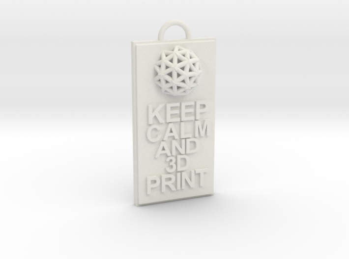 Keep Calm and 3D Print (Hypercube) Keychain 3d printed