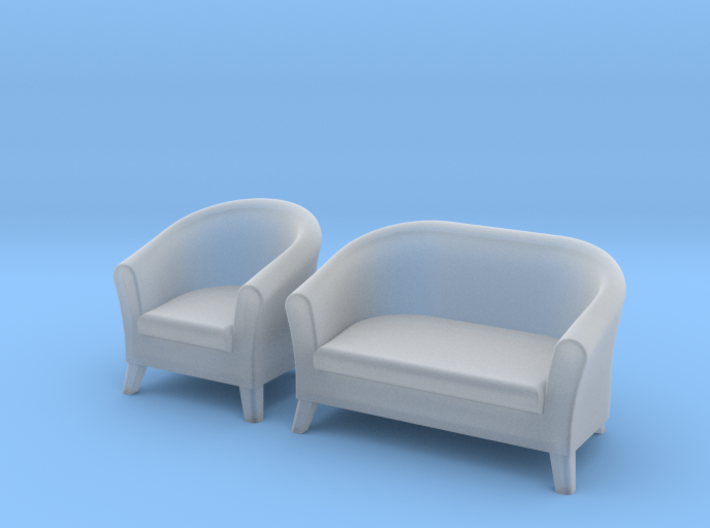 1:48 Club-Style Sofa Set 3d printed