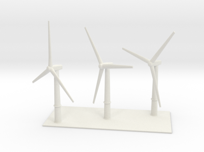 1/700 Wind Farm (x3 Turbines) 3d printed