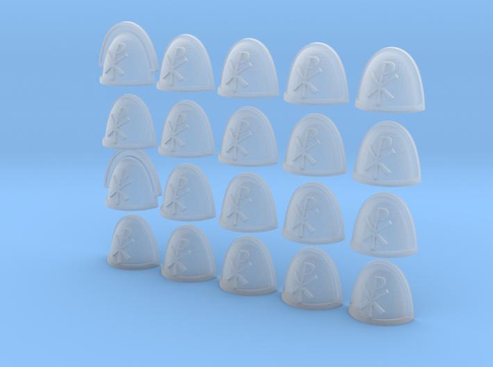 20 28mm Custom Shoulder Pad Chi Rho 3d printed
