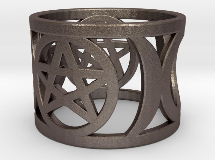 Pentagram and Goddess Symbol Ring 3d printed