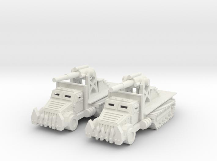 15mm Greenskin 'owitzer Wagons (x2) 3d printed