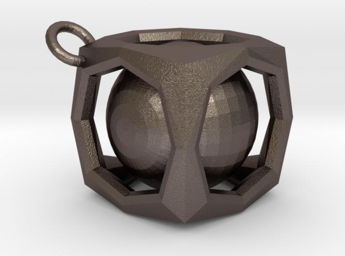 Encased Sphere Pendant 3d printed