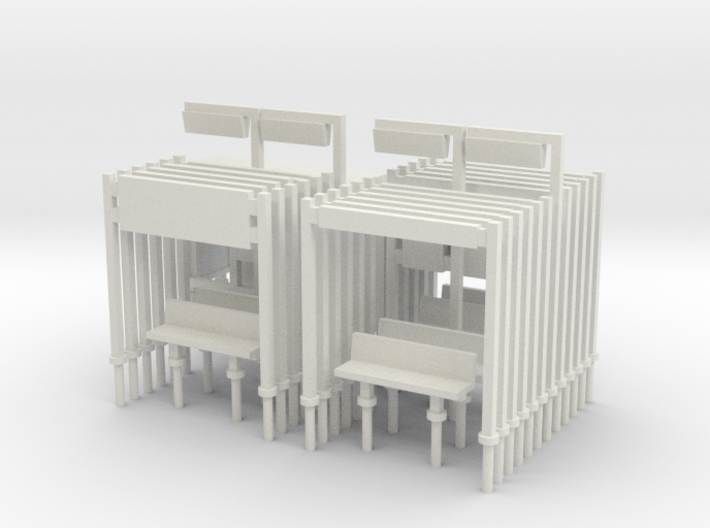 Modern Railway Station Furniture 1:148 N Gauge 3d printed