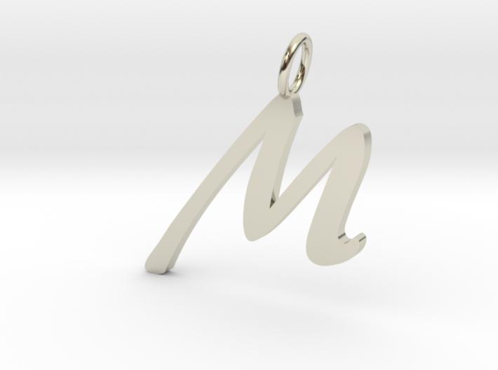 M Classic Script Initial Pendant Letter 3d printed