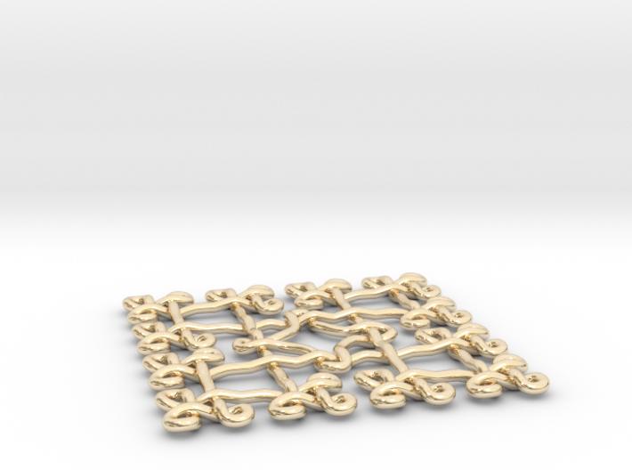 Fractal Celtic knot pendant 3d printed Printed in polished brass
