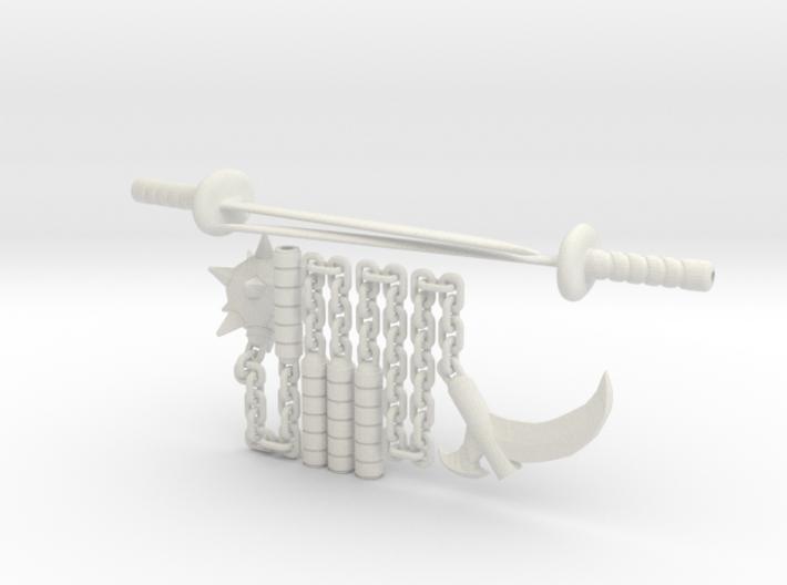 4 inch Munny Ninja weapons 3d printed